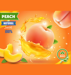 peach juice realistic splash of juice advertising vector image