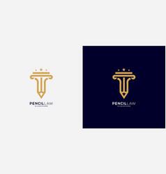 pencil law logo design vector image