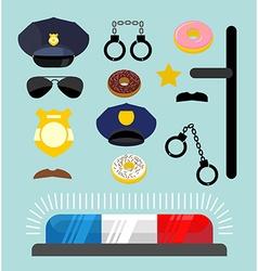 Police icons set Symbols policeman Cop accessories vector