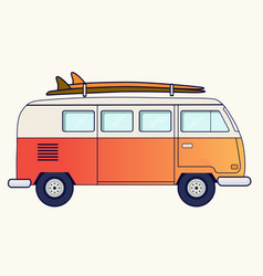 Retro travel van vector