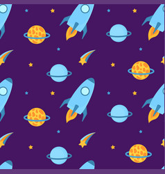 rockets fly in space with planets and stars vector image
