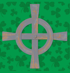 saint patricks day celtic cross green background vector image