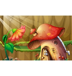 Scene with mushroom house and flower vector