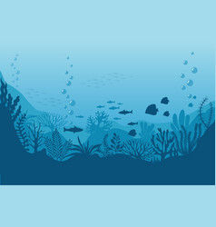 Sea underwater background ocean bottom with vector