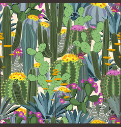 seamless pattern with cactus wild cactus forest vector image