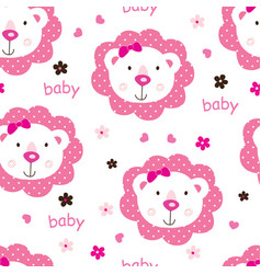 Seamless pattern with cute baby girl lions vector