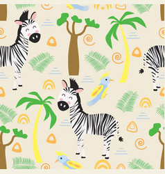 seamless pattern with zebra in scandinavian style vector image