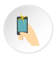 Selfie with smartphone icon flat style vector