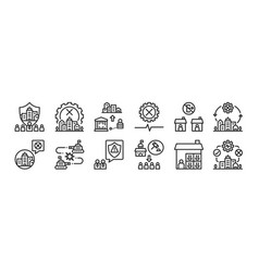 Set 12 thin outline icons such as city force vector