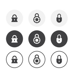set 3 simple design lock icons rounded vector image