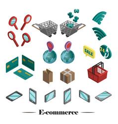 set 3d icons e-commerce vector image