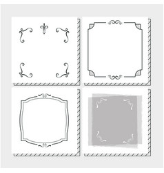 set frames hand draw vector image