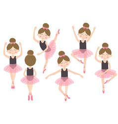 Set of isolated cute ballerina girl vector
