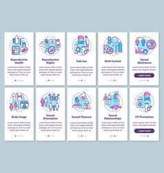 Sexual education onboarding mobile app page vector