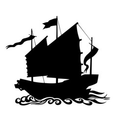silhouette chinese junk ship floating on sea waves vector image