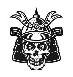 skull in samurai helmet black vector image
