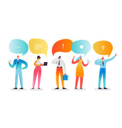 social media network concept characters smartphone vector image