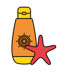 Solar blocker bottle with starfish vector