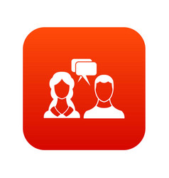Speech bubbles with two faces icon digital red vector