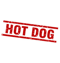 Square grunge red hot dog stamp vector