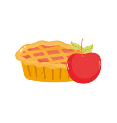 sweet pie and apple on white background vector image