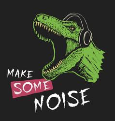 tyrannosaur music fan vector image