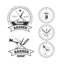 Vintage barber shop labels emblems or vector