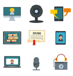 webinar training online icons set flat style vector image