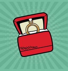 Wedding ring pop art internet security baniking vector