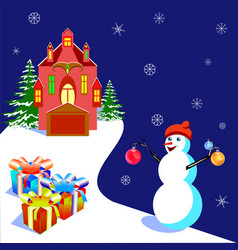with a house and a snowman vector image