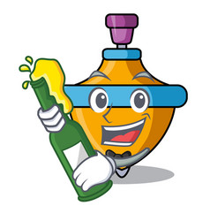 With beer spinning top mascot cartoon vector