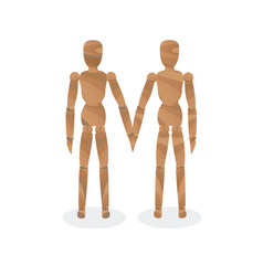 Wooden mannequin-couple vector