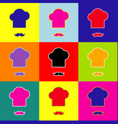 chef hat and moustache sign pop-art style vector image vector image