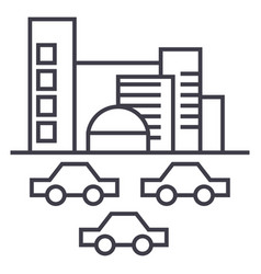 citytraffic cars line icon sign vector image