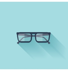 Flat glasses icon with shadow vector image