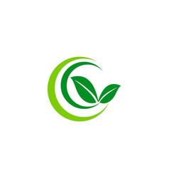 Green leaf ecology organic logo vector