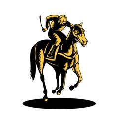 horse and jockey racing woodcut vector image