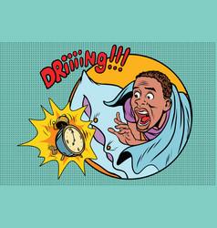 man wakes up alarm clock vector image
