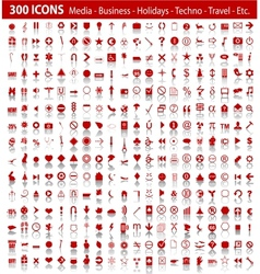 red 300 universal web icons set with shadow vector image vector image
