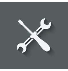 screw driver and wrench symbol vector image