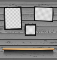 shelf photo frames wooden background vector image