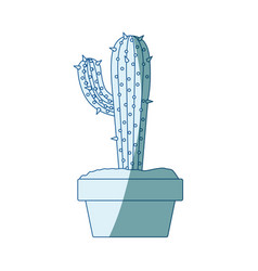 blue shading silhouette with cactus with big vector image vector image