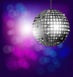 Disco ball on bokeh background vector image vector image