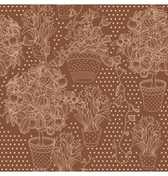 Garden seamless pattern with 3 plants vector image vector image