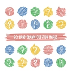 Hand drawn question marks on highlight spots set vector image vector image