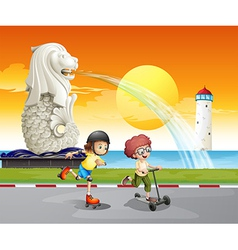 Kids playing near the statue of Merlion vector image vector image