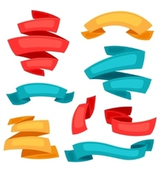 Set of decorative ribbons and banners in cartoon vector image vector image
