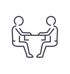 sitting men conversation line icon sign vector image