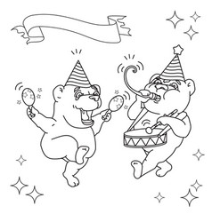 two funny bears in party hats black line on whit vector image vector image