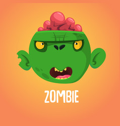 cute cartoon zombie head halloween vector image vector image